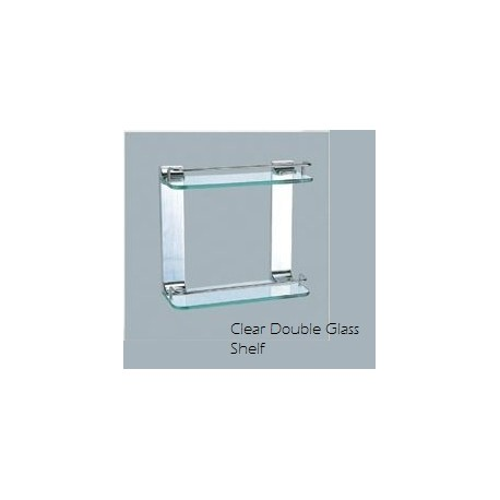 Clear double glass shelf style bathroom kitchen for Clear glass bathroom accessories